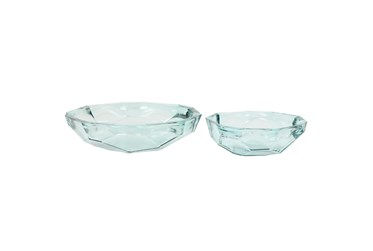 Set Of 2 Clear Glass Bowls