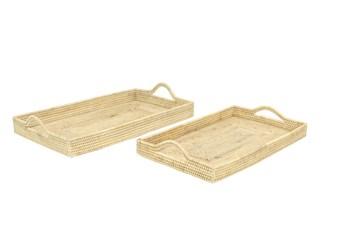 Set Of 2 Square Rattan Trays