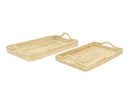 Set Of 2 Square Rattan Trays - Main