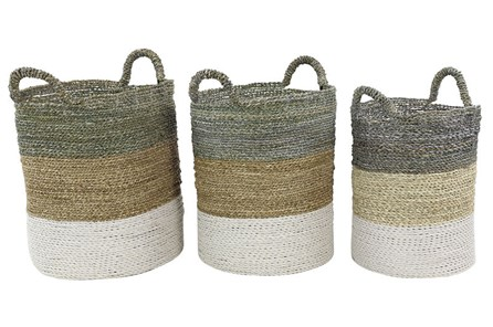 Set Of 3 Multicolor Woven Baskets