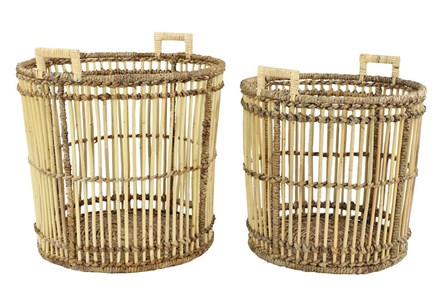 Set Of 2 Metal And Wood Baskets