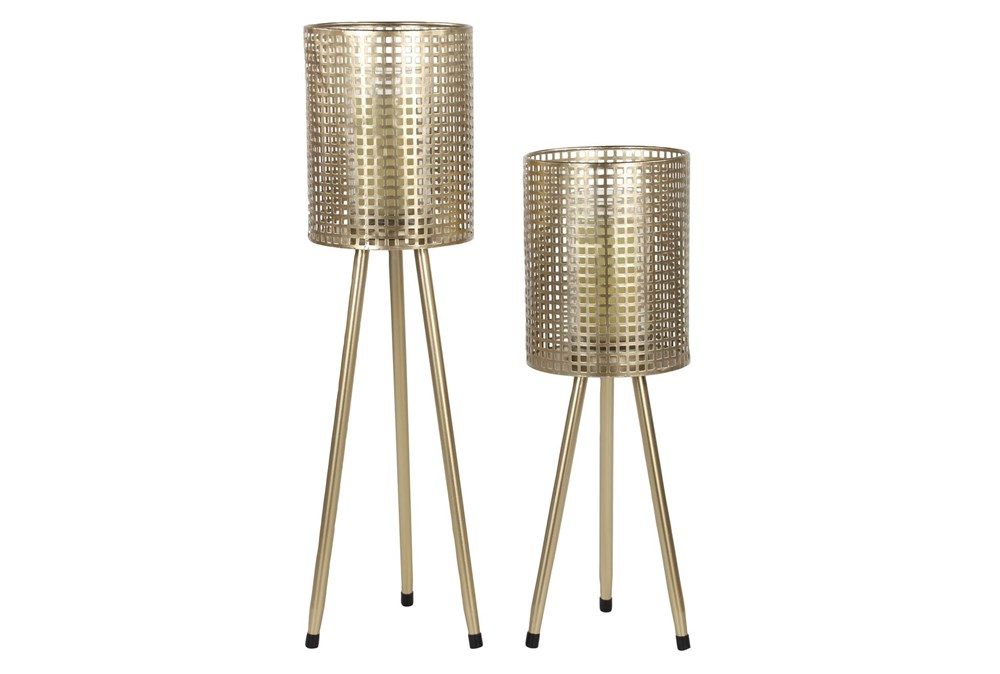 Set Of 2 Gold Mesh Candle Holders