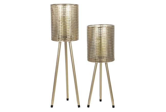 Set Of 2 Gold Mesh Candle Holders - 360