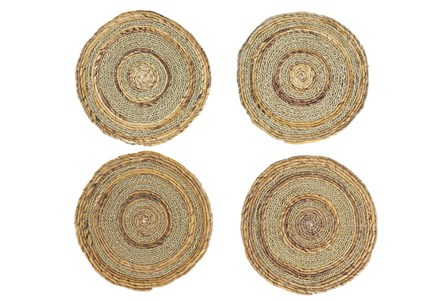 Set Of 4 Light Woven Round Placemat