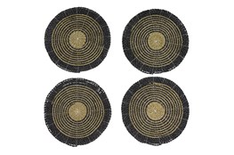 Set Of 4 Dark Woven Round Placemat