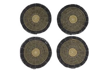 Set Of 4 Dark Woven Round Placemat