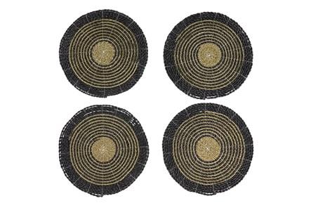 Set Of 4 Dark Woven Round Placemat - Main