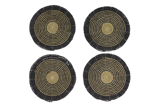 Set Of 4 Dark Woven Round Placemat - 360