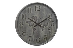 Round Metal Grey Wall Clock