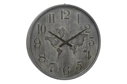 Round Metal Grey Wall Clock