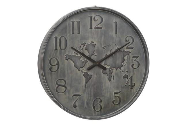Round Metal Grey Wall Clock - 360