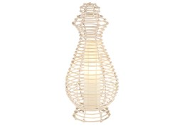 Table Lamp-White Wicker