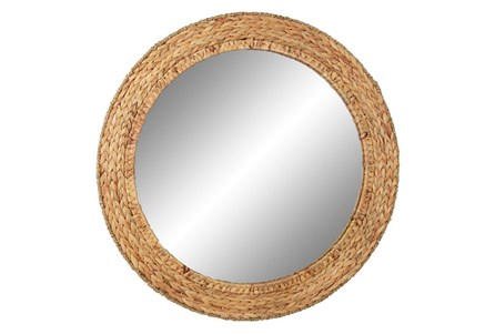 Wall Mirror-Round Water Hyacinth
