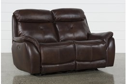 "Shane Leather Power Reclining Glider 68"" Loveseat With Power Headrest"