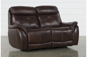 "Shane Leather Power Reclining Glider 68"" Loveseat W/ Power Headrest"
