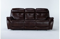 "Shane Leather 90"" Power Reclining Sofa With Power Headrest"