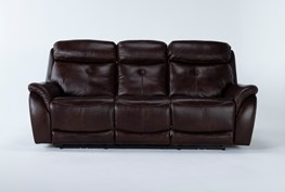 """Shane Leather 90"""" Power Reclining Sofa With Power Headrest"""