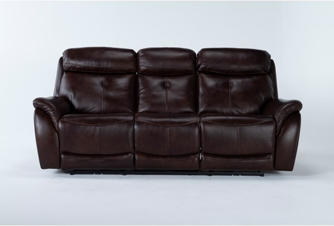 """Shane Leather 90"""" Power Reclining Sofa With Power Headrest - 360"""