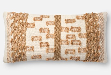 Accent Pillow-Magnolia Home Braided Bowtie Beige/Rust 12X27 By Joanna Gaines