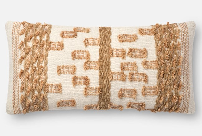 Accent Pillow-Magnolia Home Braided Bowtie Beige/Rust 12X27 By Joanna Gaines - 360