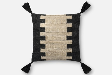 Accent Pillow-Magnolia Home Jute Tassel Black/Ivory 18X18 By Joanna Gaines