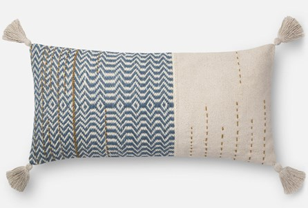 Accent Pillow-Magnolia Home Zig Zag Tassels Ivory/Blue 12X27 By Joanna Gaines