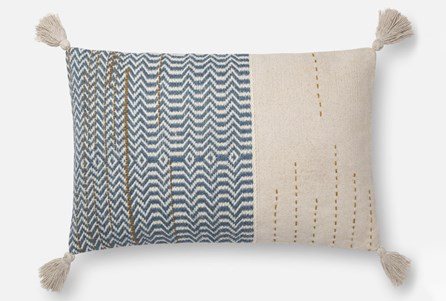 Accent Pillow-Magnolia Home Zig Zag Tassels Ivory/Blue 16X26 By Joanna Gaines