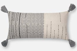 Accent Pillow-Magnolia Home Zig Zag Tassels Ivory/Grey 12X27 By Joanna Gaines