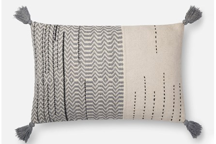 Accent Pillow-Magnolia Home Zig Zag Tassels Ivory/Grey 16X26 By Joanna Gaines