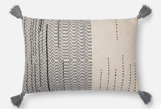 Accent Pillow-Magnolia Home Zig Zag Tassels Ivory/Grey 16X26 By Joanna Gaines - 360