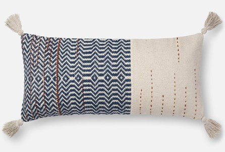 Accent Pillow-Magnolia Home Zig Zag Tassels Ivory/Indigo 12X27 By Joanna Gaines
