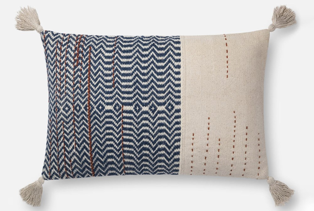 Accent Pillow-Magnolia Home Zig Zag Tassels Ivory/Indigo 16X26 By Joanna Gaines