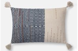 Accent Pillow-Magnolia Home Zig Zag Tassels Ivory/Indigo 16X26 By Joanna Gaines