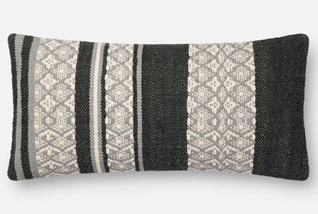 Accent Pillow-Magnolia Home Zig Zag Bands Black/Beige 12X27 By Joanna Gaines