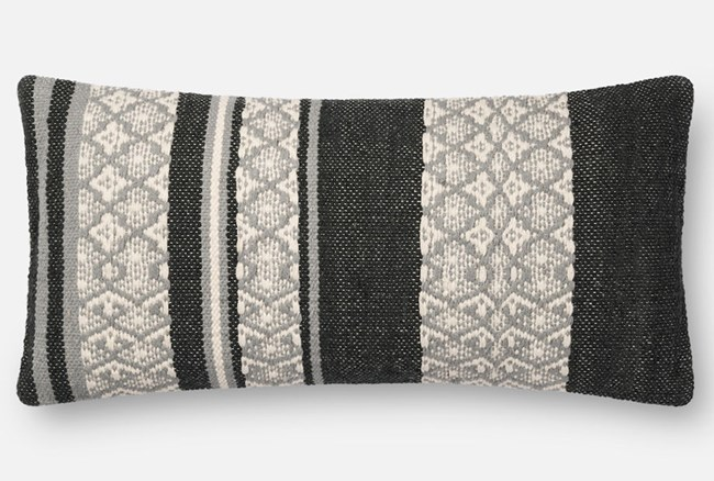 Accent Pillow-Magnolia Home Zig Zag Bands Black/Beige 12X27 By Joanna Gaines - 360