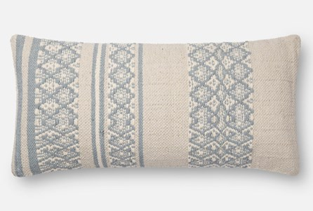 Accent Pillow-Magnolia Home Zig Zag Bands Lt. Blue/Beige 12X27 By Joanna Gaines