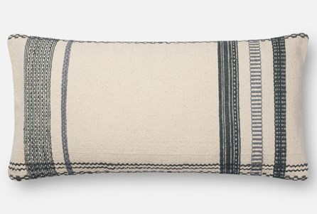 Accent Pillow-Magnolia Home Stripe Border Ivory/Blue 12X27 By Joanna Gaines