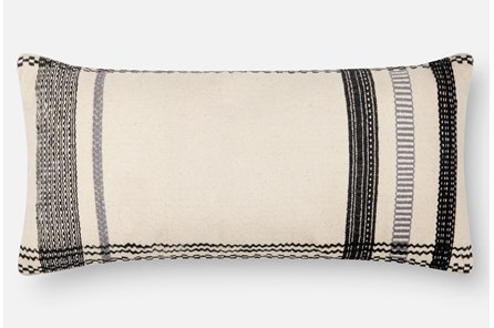 Accent Pillow-Magnolia Home Stripe Border Ivory/Black 12X27 By Joanna Gaines