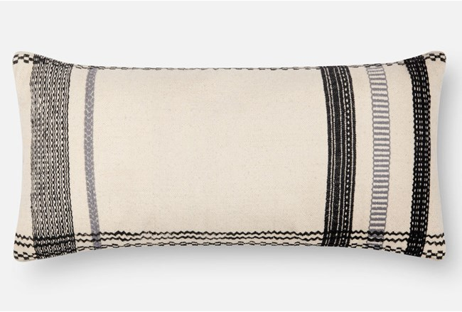 Accent Pillow-Magnolia Home Stripe Border Ivory/Black 12X27 By Joanna Gaines - 360