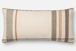 Accent Pillow-Magnolia Home Stripe Border Ivory/Copper 12X27 By Joanna Gaines