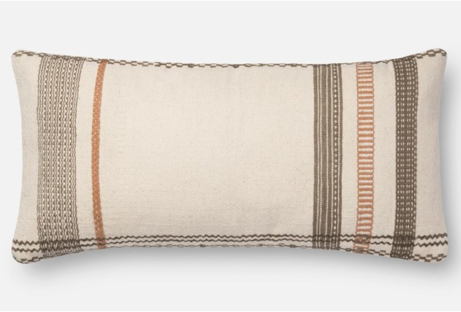 Accent Pillow-Magnolia Home Stripe Border Ivory/Copper 12X27 By Joanna Gaines - 360