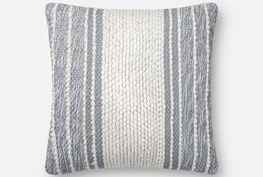 Accent Pillow-Magnolia Home Center Stripe Blue/Ivory 18X18 By Joanna Gaines