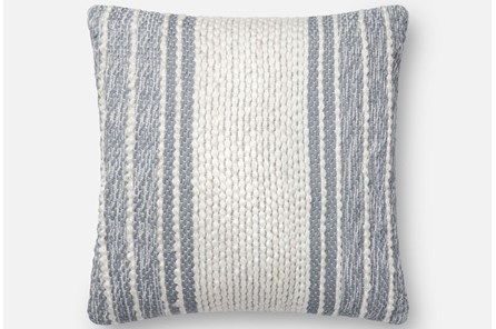 Accent Pillow-Magnolia Home Center Stripe Blue/Ivory 18X18 By Joanna Gaines - Main