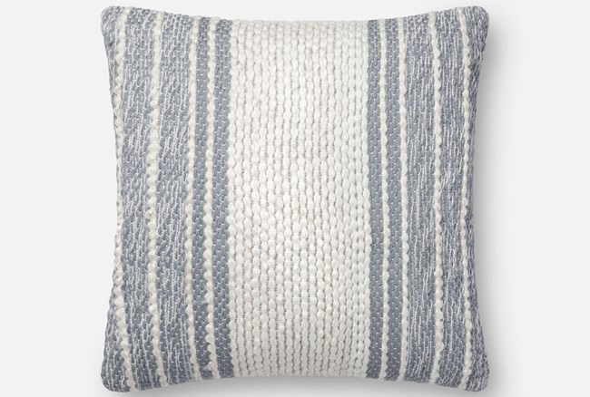 Accent Pillow-Magnolia Home Center Stripe Blue/Ivory 18X18 By Joanna Gaines - 360