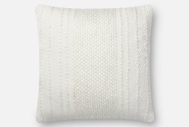 Accent Pillow-Magnolia Home Center Stripe Ivory/Ivory 18X18 By Joanna Gaines - 360