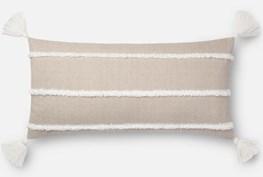 Accent Pillow-Magnolia Home Herringbone Stripe Beige 12X27 By Joanna Gaines