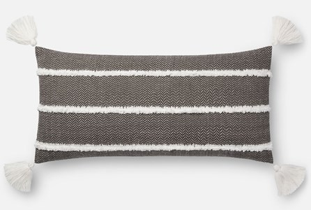 Accent Pillow-Magnolia Home Herringbone Stripe Black 12X27 By Joanna Gaines