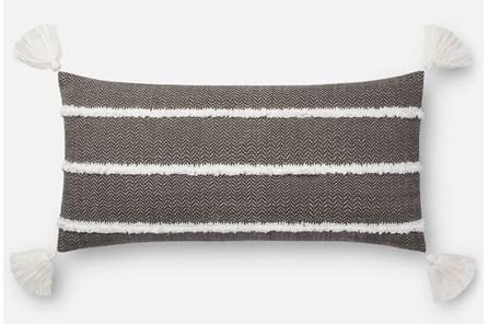 Accent Pillow-Magnolia Home Herringbone Stripe Black 12X27 By Joanna Gaines