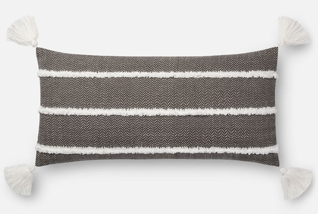 Accent Pillow-Magnolia Home Herringbone Stripe Black 12X27 By Joanna Gaines - 360