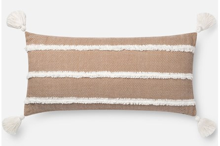 Accent Pillow-Magnolia Home Herringbone Stripe Copper 12X27 By Joanna Gaines